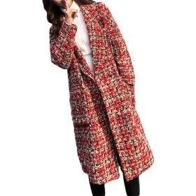 ZhongJue(ジュージェン)チェスター コート レディース 厚手 中綿コート 冬 ロングコート チェック柄 フェミニン アウター(4レッド)