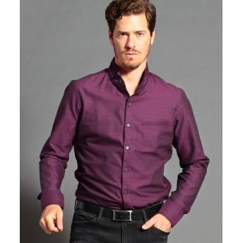 ムッシュニコル ドビー織り長袖スタンドカラーシャツ メンズ 07ボルドー 50(LL) 【MONSIEUR NICOLE】