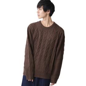 (モノマート) MONO-MART オーバーサイズ アラン編み クルーネック ケーブル ニット セーター メンズ ブラウン Mサイズ