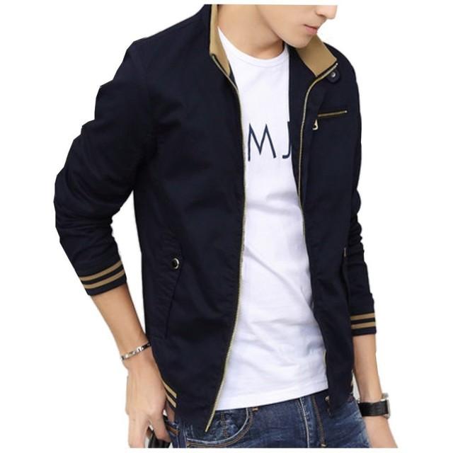 Denim(デニム) 選べる4色 ジャケット メンズ ブルゾン スタイル 長袖 ジャンパー 春 秋 シンプル カジュアル 防寒 ジップ ジッパー (M, ダークブルー)