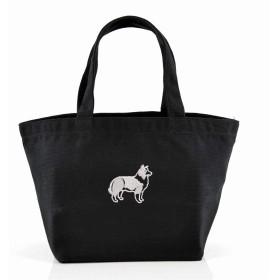[X-CLOTHES] ミニトートバッグ ランチバッグ ワンポイント 刺繍 グッズ レディース キャンバス Free 犬 ブラック