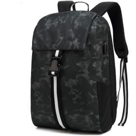 POSO リュック バックパック ビジネスリュック PCバック ファッションバックパック メンズ 大容量 USB充電ポートイヤホン穴付き 男女兼用 アウトドア 旅行 通気性 防水 盗難防止 (ブラック)
