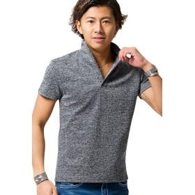 (キャバリア)CavariA メンズ イタリアンカラー ポロシャツ シンプル 半袖 無地CAST19-28 44(M) 70(NAVY/ネイビー)【-】
