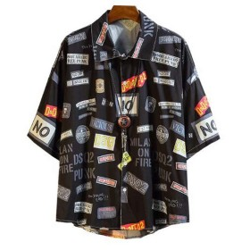 [eleitchtee]アロハシャツ メンズ カジュアルシャツ 半袖 開襟シャツ 花柄 オープンカラー ハワイ(5XL ブラック)