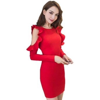 セクシーな女装 春秋服 新金 韓国版 身を修めてやせている 腰を下ろす セクシーな露の長袖はヒップのワンピースの潮を包みます S-XL (S, 赤)