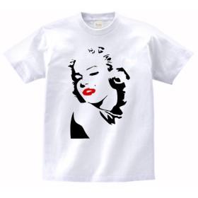【ノーブランド品】 おもしろ デザイン Tシャツ マリリンモンロー リップ赤 白 MLサイズ (M)
