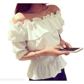 (ミワトモ)MIWATOMO かわいい オフショルダー ブラウス フリル トップス シャツ 大人かわいい ポートネック 半袖 ホワイト Lサイズ (L, ホワイト)