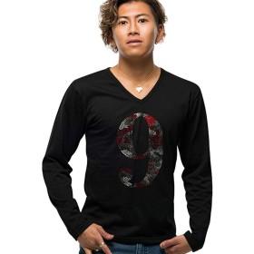 (キャバリア)CavariA メンズ Vネック 長袖 Tシャツ 迷彩 カモフラージュ スカル ドクロ ナンバリング 46(L) 90(BLK-A/ブラックA)【-】