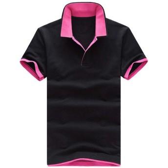 (SGL Collection) ポロシャツ メンズ 半袖 シンプル デザイン レイヤード スリム タイト フィット バイカラー カットソー スキッパー 黒 男 ファッション おしゃれ きれいめ キレイめ カジュアル シャツ サロン系 LEON系 コーディネート ゴルフウェア テニスウェア ゴルフ テニス ビビット 襟 重ね着 風 (S, ブラック x ピンク 黒 x 赤)