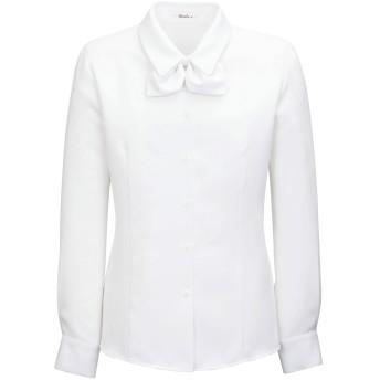 BONMAX 【下着が透けない】 リボンブラウス(長袖) RB4138-15 ホワイト 9号