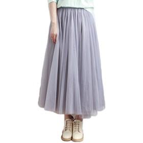 (エンジェルムーン) AngelMoon チュールスカート ロング丈 レディース (フリーサイズ, 灰色)