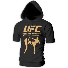 UFC MMA Printed パーカー メンズ Tシャツ サマー 秋 パーカー トップス ゆったり フード付き カジュアル 半袖 薄手 綿 大きいサイズ 人気 オシャレ