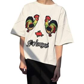(アンドジェイ) ANDJ 鳥刺繍ワッペンカットソー半袖Tシャツ ts64x03633 FREE ホワイト