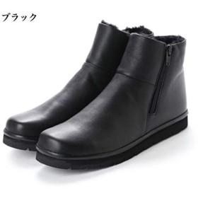 日本製 本革 ショートブーツ ボア レディース ブーツ ローヒール フラット ショート シンプル カジュアル ダブルジッパー レザーブーツ 幅広 3E 黒 ネイビー ブラック,23.0cm