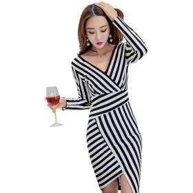 春夏新商品 性感ファッション 韓国語版 Vネック ファッションストライプ 不規則なスカートパッケージヒップ ワンピース ドレス ストライプ 長袖バッグヒップ ファッション ステップスカートS-XL (L, ストライプ(長袖))