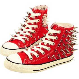 [ファークロス] Yuanbu ユニセックス キャンバス 靴 リベット ハイトップ スニーカー (42, レッド)