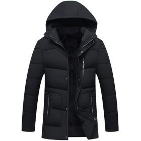 [サ二ー] ハイネック ダウンコート メンズ 中綿アウター 秋冬 ダウンジャケット 大きいサイズ ビジネス 厚手 フード外し可能 トップス 大きいサイズ 暖かい ポッケト付き 裏起毛 レジャー 無地 カジュアル ブラック XL