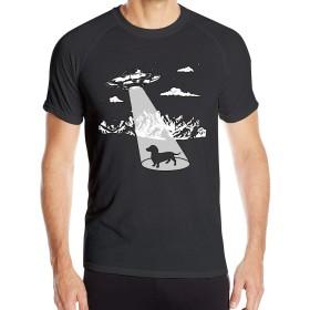 ダックスフントエイリアンメンズ半袖シャツ速乾性アウトドアスポーツティー、ブラック、サイズL
