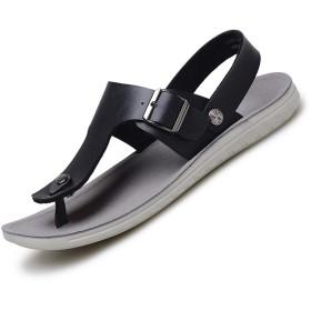 [Zlong] メンズサンダルアウトドアウォータービーチレザースポーツカジュアルサンダル、ホワイト、ブルー、ブラック (容量 : 40, 色 : ブラック)
