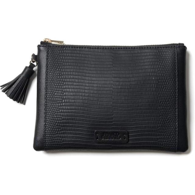 [フランコフェラーロ] ポーチ リザード型押し 【 薄型 タッセル付き ジッパータイプ 】 鞄に入れてもかさばらない ブラック