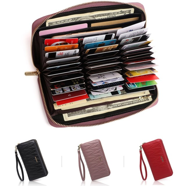 APHISON カードケース レディース 本革 じゃばら式 36枚 RFID クレジットカードケース おしゃれ カード入れ スキミング防止 磁気防止 大容量 ギフト (36枚パープル)