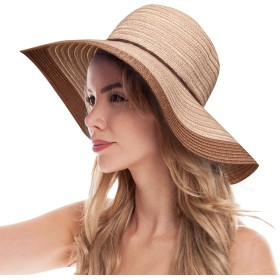 NALATTE レディース ストローハット 麦わら帽子 つば広 小顔効果 紫外線防止 日除け 春 夏 UVカット 折りたたみ可能 携帯便利 (ブラウン)
