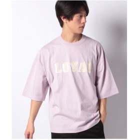 WEGO WEGO/フロッキープリント5分袖Tシャツ(ライトパープル)【返品不可商品】