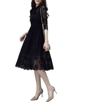 レディース ワンピース ドレス レース レディース レースドレス シースルー 新しい 韓国風 7分袖 ドレス 黒 気質 スリム 中長セクション ドレス