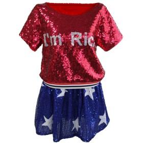 スパンコール ダンス 衣装 セットアップ ヒップホップ アメリカ国旗柄 星条旗 2点セット トップ スカート フリーサイズ