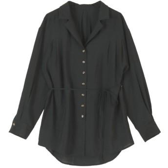 【20%OFF】 ティティベイト ウエストリボンゆるシャツ/ブラウス レディース ブラック L 【titivate】 【タイムセール開催中】