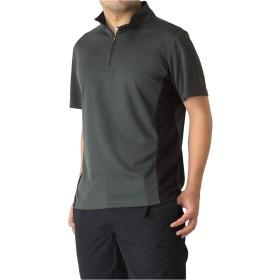 (ラフルーレ) RAFFRULE M15 ポロシャツ メンズ ゴルフウェア 吸汗 速乾 ドライ ストレッチ ハーフジップ カットソー スポーツ RQ0902 L A3-チャコール×ブラック
