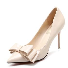 [ファイン・ショップ] ピンヒール パンプス レディース 9.0cmヒール エナメル 美脚 歩きやすい 履きやすい 安定感ある シンプル OL風 ベーシック フォーマル ベージュ 22.0-24.5cm