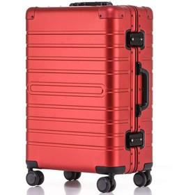 Langxj hj スーツケース アルミマグネシウム合金 キャリーバッグ ダブルキャスター・静音 キャリーケース TSAロック搭載 フレームタイプ ドイツ製カバー付き 軽量 機内持込8095 (S レッド)