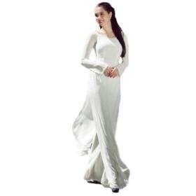 アオザイ ベトナム 女子高生 学校 制服 民族 衣装 JK 長袖 レディース パンツ 付き (L, 襟なし ファスナータイプ)