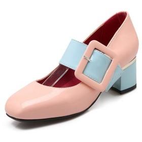 [ウンファッション] スクエアトゥ レディース バイカラー パンプス 23.0cm ピンク
