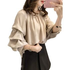 MengFan 秋服 レディース シフォン ブラウス 長袖 シャツ パーカー 無地 丸首 ゴム付き パフスリーブ かわいい きれいめ トップス ゆったり オフィス フォーマル 韓国風 アプリコットg