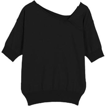[神戸レタス] サマーニット 5分袖 アシンメトリー コットン 混ニット トップス レディース [C3775] ワンサイズ(M) ブラック