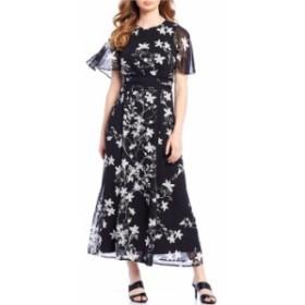 カルバンクライン レディース ワンピース トップス Floral Print Chiffon Capelet Maxi Dress Black Cream