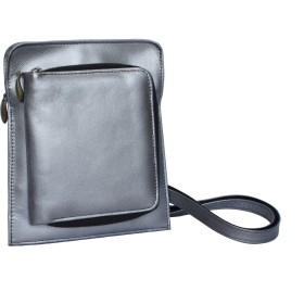 [アモレス] 財布機能付きのウエストポーチ 日本製 馬革 財布機能付き ポシェット&ウエストポーチ (シルバー)