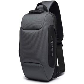 UMEX ボディバッグ ワンショルダー メンズ 防犯 USBポート 撥水 斜めがけ iPad収納可能 バッグ ダークグレー