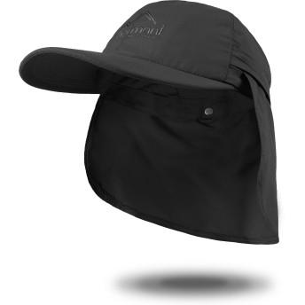 [ノルマニ]normani UVカット 帽子サバンナキャップ 収納可 首の日よけカバー付き 小さい ~ 大きいサイズ SPF40 PA+ 色 ブラック サイズ L