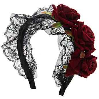 ESTRELLA 薔薇 ローズ レース付き カチューシャ ヘッドドレス ゴスロリ ゴシック ロリータ かわいい ガールズ (レッド)