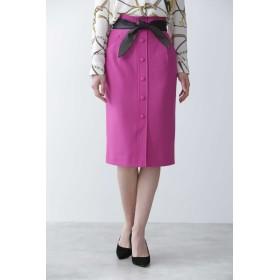 PINKY & DIANNE ◆レザーリボン付きフロント釦スカート ひざ丈スカート,マゼンダ1