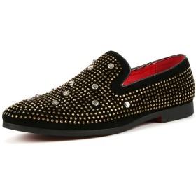 [DIG DOG BONE] 靴 男性 オックスフォード カジュアル 個性 リベットスパンコール ロートップ 正式 シューズ (Color : Gold, サイズ : 24 CM)
