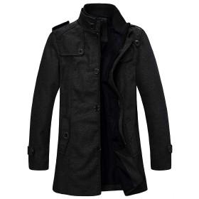 Wantdo ロング ジャケット コート チェスターコート ビジネス 通勤 ピーコート シンプル 秋冬 無地 防寒 大きいサイズ ブラック 3L
