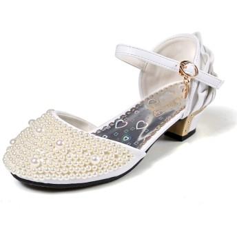 [フォーペンド] Forpend ガールズドレスシューズ フォーマル靴 ピアノ発表会 演奏会 結婚式 パーティー用 滑り止め パール SG601