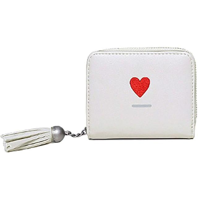 財布 レディース 二つ折り ミニ財布 可愛い フリンジ 大容量 多機能 スナップボタン&ファスナー 小銭入れ (ホワイト)
