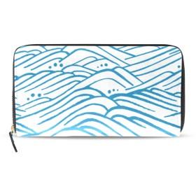 海の波 青い 長財布 財布 ラウンドファスナー 北欧 ギフト プレゼント PU レザー 大容量 通学 通勤 旅行