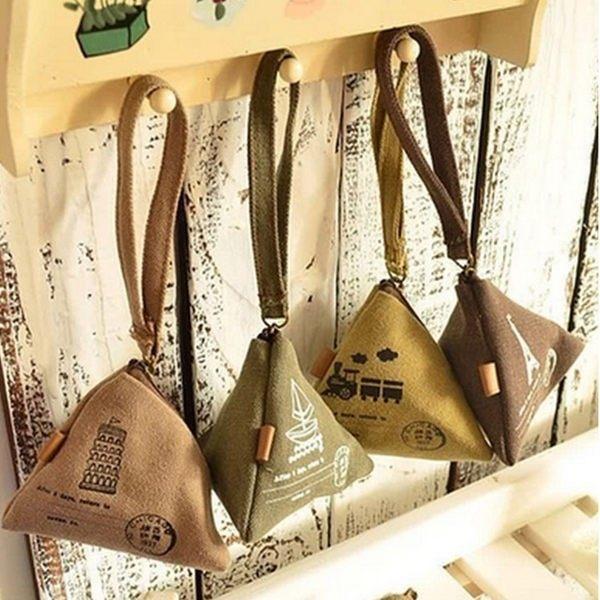 【03661】 粽子零錢包 麻布材質 鑰匙包 耳機包 零錢包 錢包 收納包