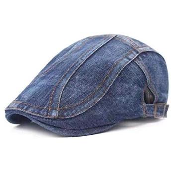 ベレー帽 ハンチング キャップ デニム アウトドア ワイルド 通勤 紳士用 ハンチング フラット uvカット 日除け帽 コットンハット ストライプ柄 通気性 男女兼可 (ブルー)